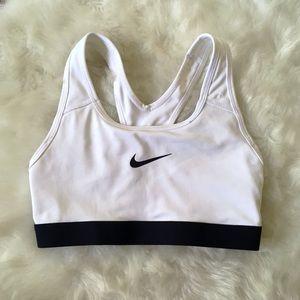 Nike White Black Sports Bra